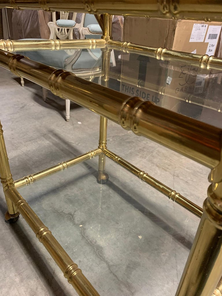 20th Century Faux Bamboo Brass Cart Attributed to Maison Baguès 6