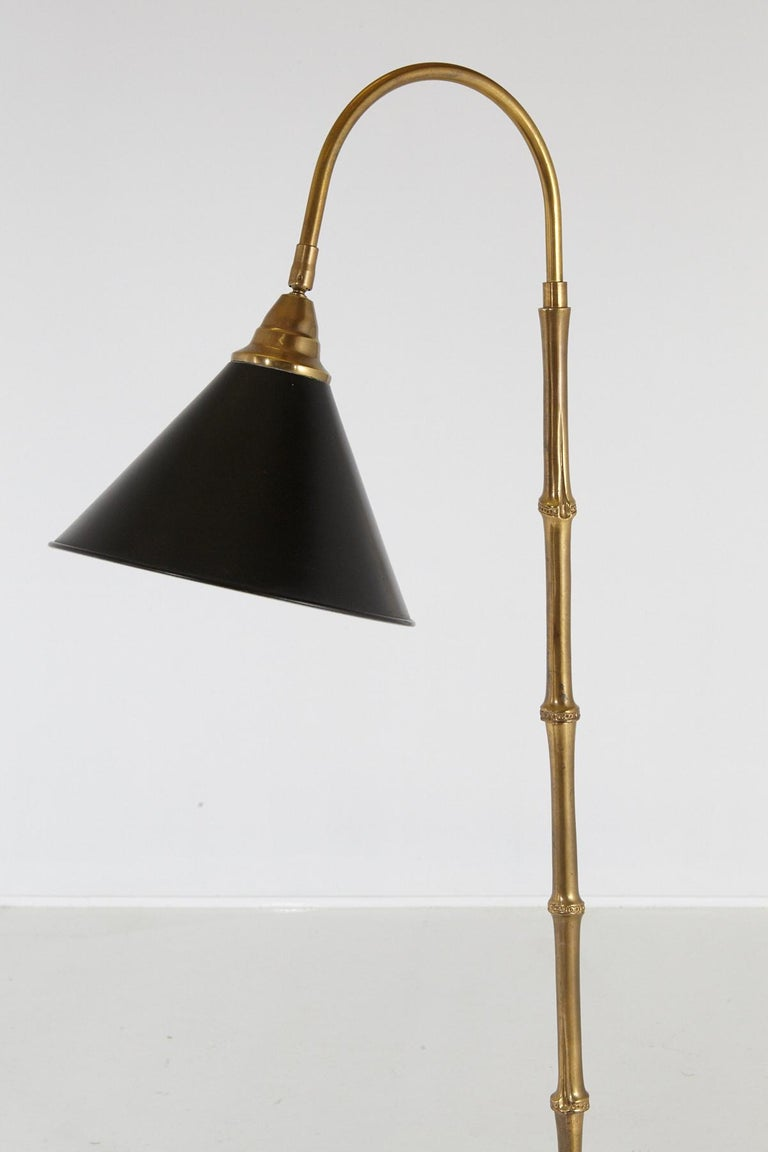 American Faux Bamboo Brass Floor Lamp with Adjustable Black Metal Shade