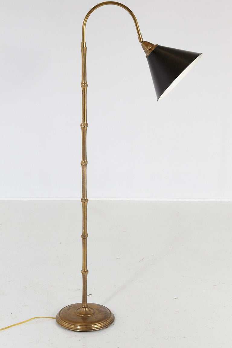 Faux Bamboo Brass Floor Lamp with Adjustable Black Metal Shade For Sale 1