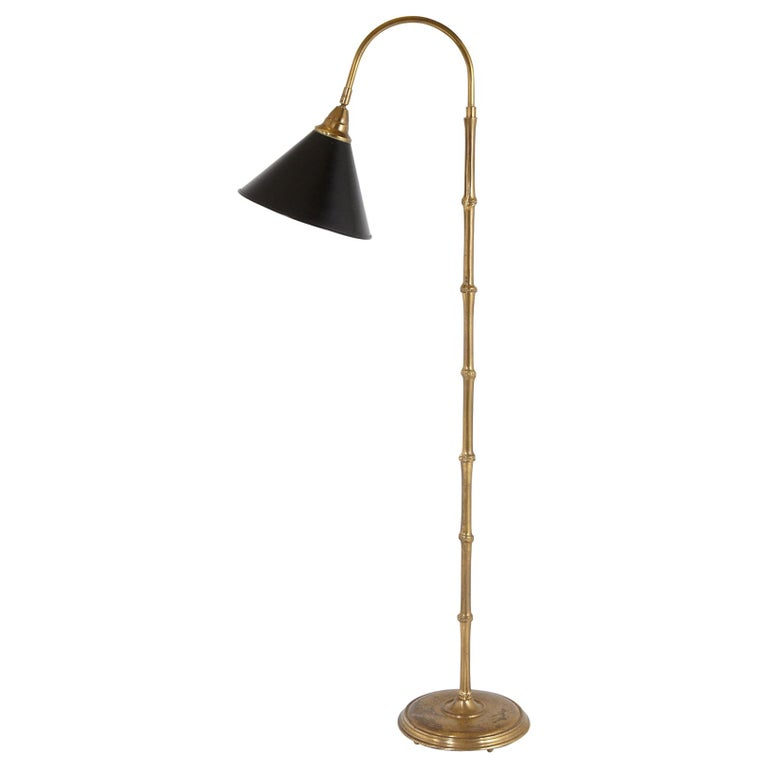 Faux Bamboo Brass Floor Lamp with Adjustable Black Metal Shade For Sale