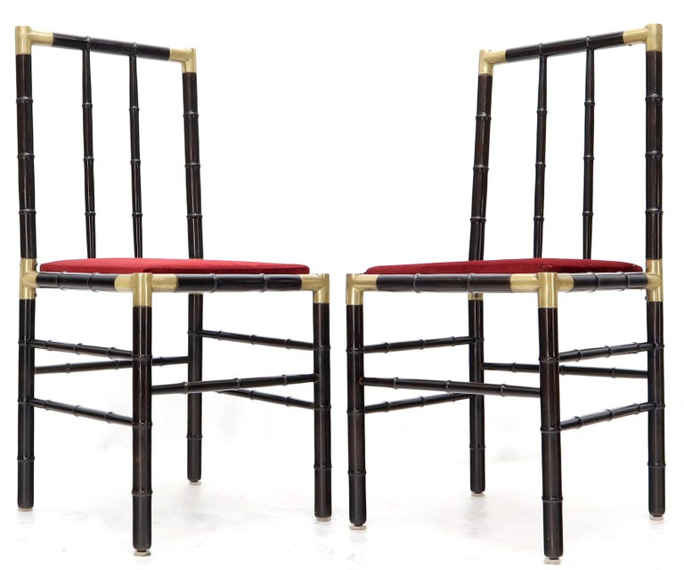 Faux Bamboo Brass Glass Dining Game Table Set with 4 Chairs Billy Haines For Sale 4