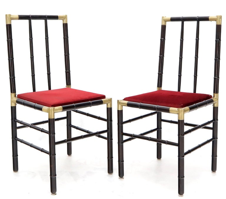 Mid-Century Modern Faux Bamboo Brass Glass Dining Game Table Set with 4 Chairs Billy Haines For Sale