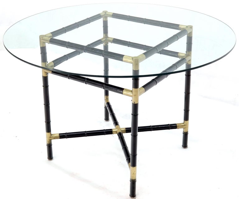 American Faux Bamboo Brass Glass Dining Game Table Set with 4 Chairs Billy Haines For Sale