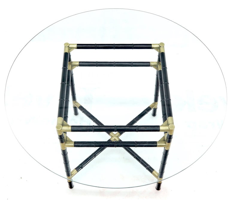 20th Century Faux Bamboo Brass Glass Dining Game Table Set with 4 Chairs Billy Haines For Sale