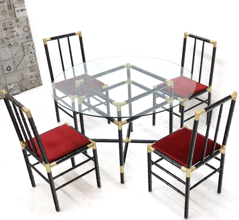 Faux Bamboo Brass Glass Dining Game Table Set with 4 Chairs Billy Haines For Sale 1