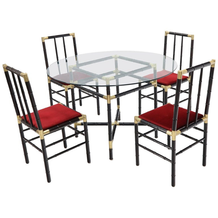 Faux Bamboo Brass Glass Dining Game Table Set with 4 Chairs Billy Haines For Sale