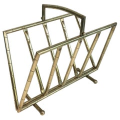 Faux-Bamboo Brass Magazine Rack in the Style of Jacques Adnet