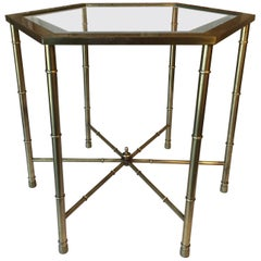 Faux Bamboo Brass Side Table by Mastercraft