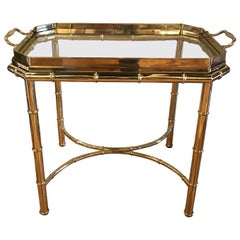 Faux Bamboo Brass Tray Cocktail Table