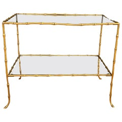 Faux Bamboo Brass Two-Tier Table Attributed to Maison Bagues