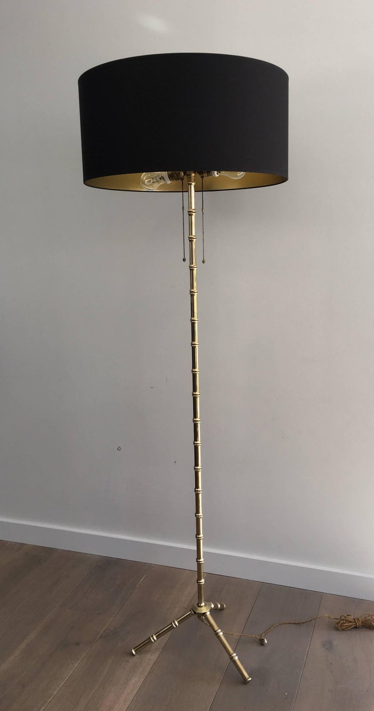 Faux Bamboo Bronze Floor Lamp By Jacques Adnet French