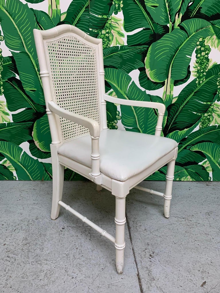 Hollywood Regency Faux Bamboo Cane Back Dining Chairs by Thomasville, Set of 6 For Sale