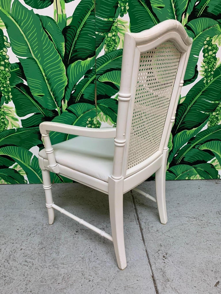 American Faux Bamboo Cane Back Dining Chairs by Thomasville, Set of 6 For Sale