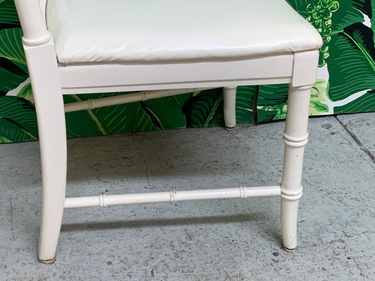 Faux Bamboo Cane Back Dining Chairs by Thomasville, Set of 6 In Good Condition For Sale In Jacksonville, FL