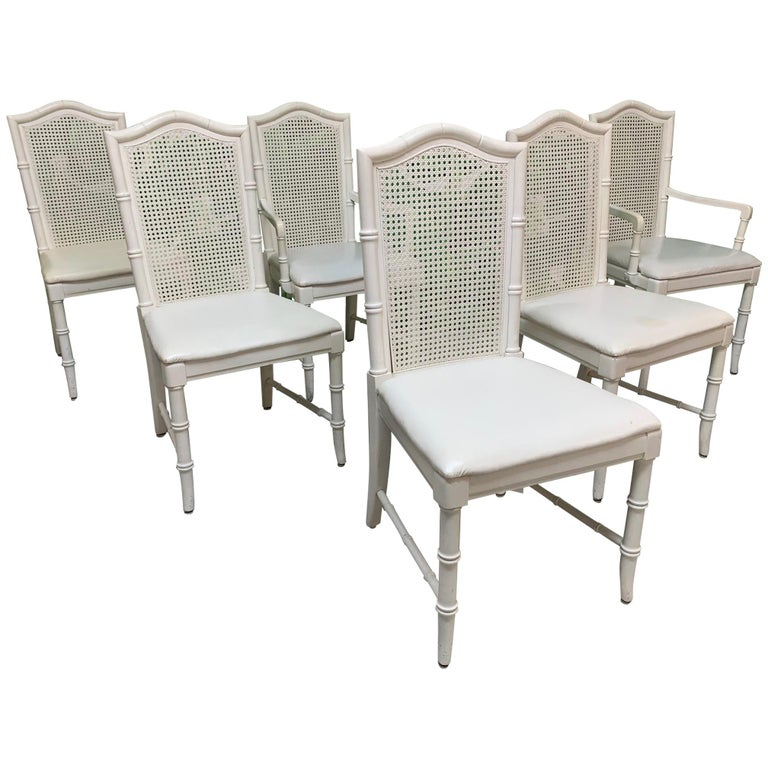 Faux Bamboo Cane Back Dining Chairs by Thomasville, Set of 6 For Sale