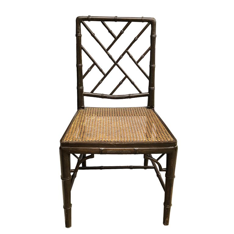 Hollywood Regency Faux Bamboo Cane Seat Chippendale Brown McGuire Dining Chair In Good Condition For Sale In Oklahoma City, OK