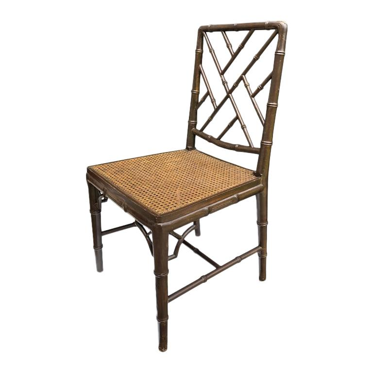 Hollywood Regency Faux Bamboo Cane Seat Chippendale Brown McGuire Dining Chair For Sale