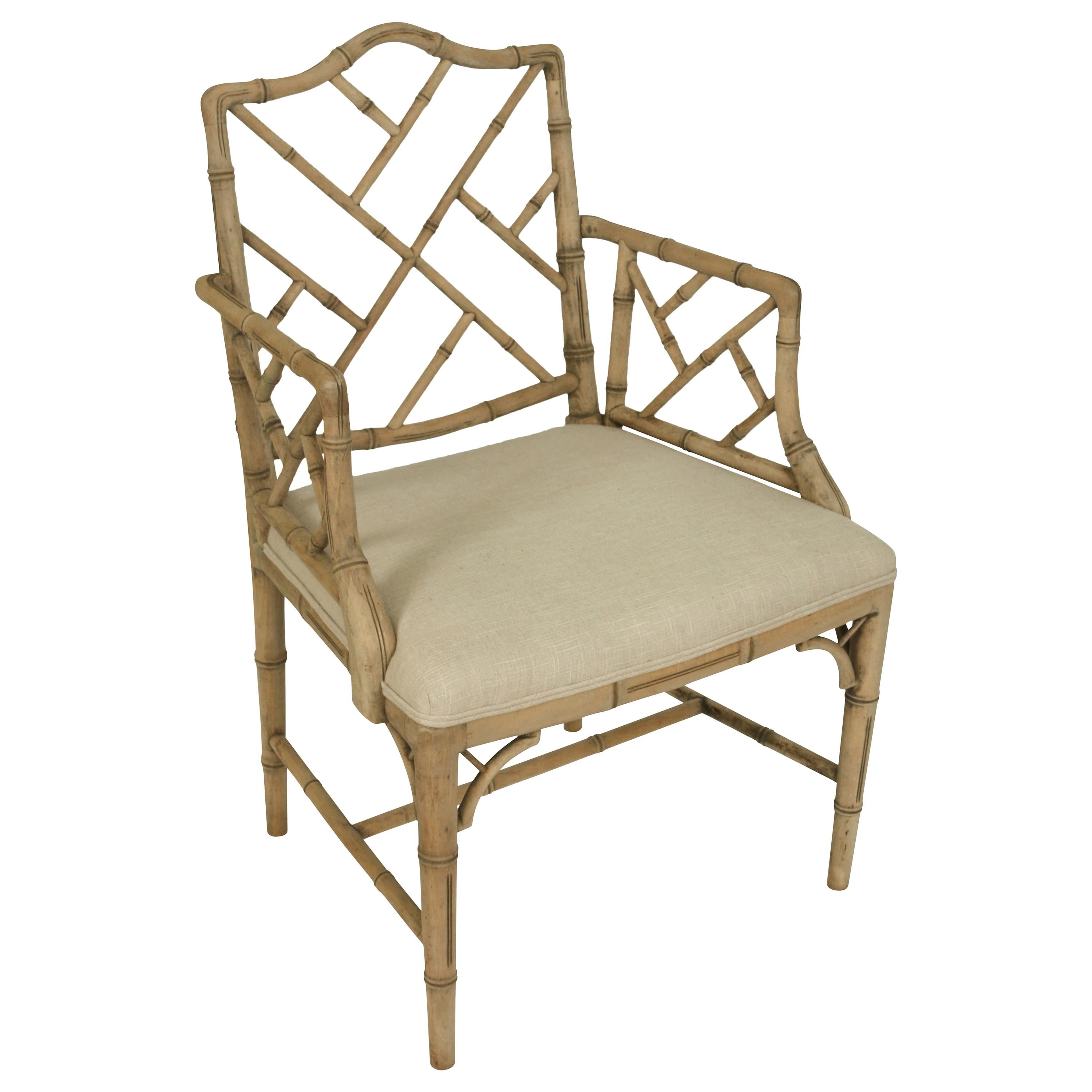 Faux Bamboo Chair in a Bleached Finish