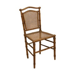 Faux Bamboo Chair with Caned Back and Seat from England