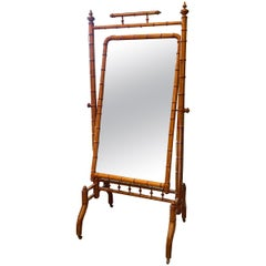 Faux Bamboo Cheval Standing Mirror, France, 1880s