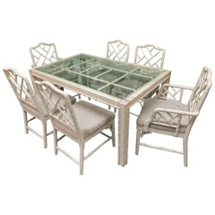 Faux Bamboo Chinese Chippendale 7-Piece Dining Set
