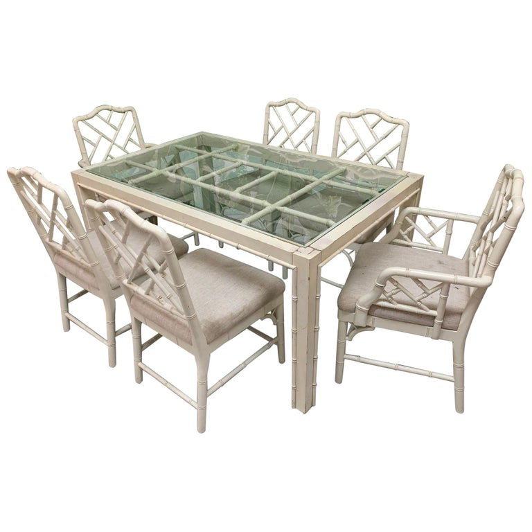 Faux Bamboo Chinese Chippendale 7-Piece Dining Set For Sale