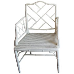 Faux Bamboo Chinese Chippendale Armchair  White Wood Lacquered 1970s
