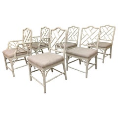 Faux Bamboo Chinese Chippendale Dining Chairs Set of 6