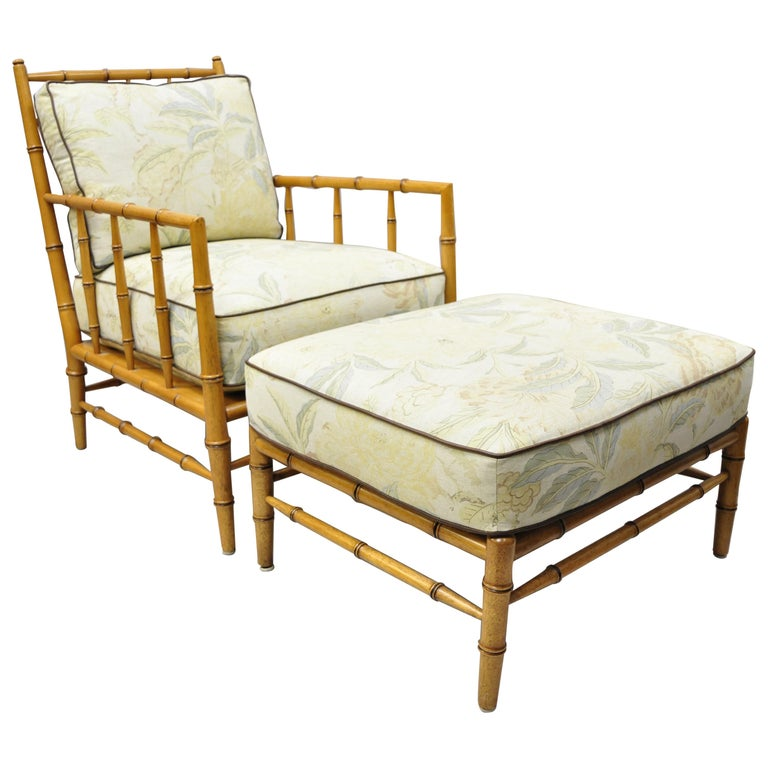 Faux Bamboo Chinese Chippendale Martha Stewart Bernhardt Lounge Chair And Ottoman For Sale At 1stdibs