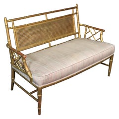 Faux Bamboo Chinese Chippendale Style Bench