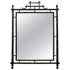 Faux Bamboo Chinoiserie Black Lacquered Mirror