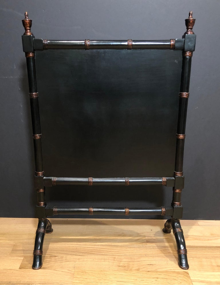 Faux Bamboo Chinoiserie Fire Screen In Good Condition For Sale In Norwood, NJ