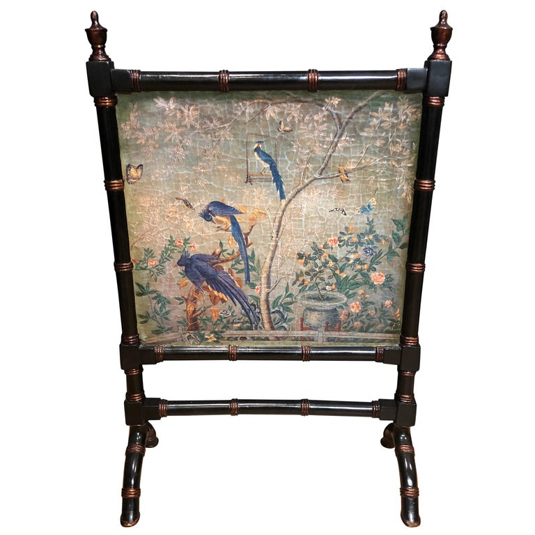 Faux Bamboo Chinoiserie Fire Screen For Sale