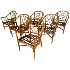 Faux Bamboo Chinoiserie Rattan Armchairs, Set of 6