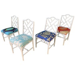 Faux Bamboo Chinoiserie Style Dining Chairs, Set of 4