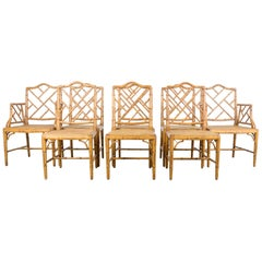 Faux Bamboo Chippendale Chinese Dining Chairs, Set of Eight