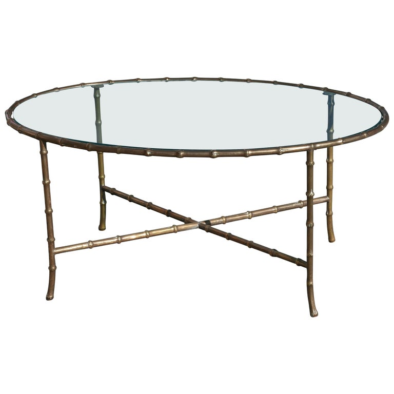 Faux Bamboo Coffee Table by Mason Baguès, circa 1960 For Sale
