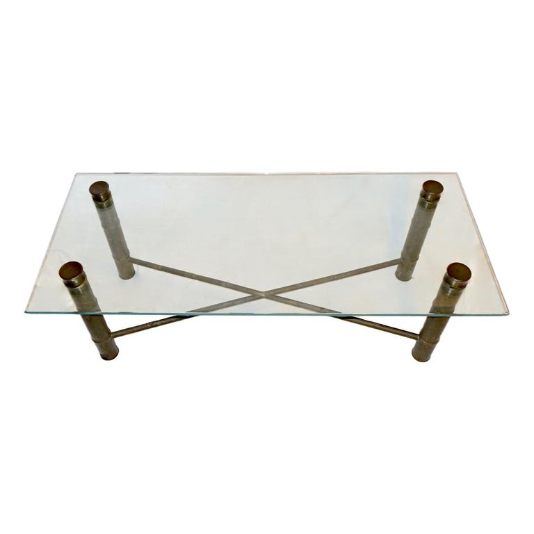 Brass Faux Bamboo Coffee Table For Sale