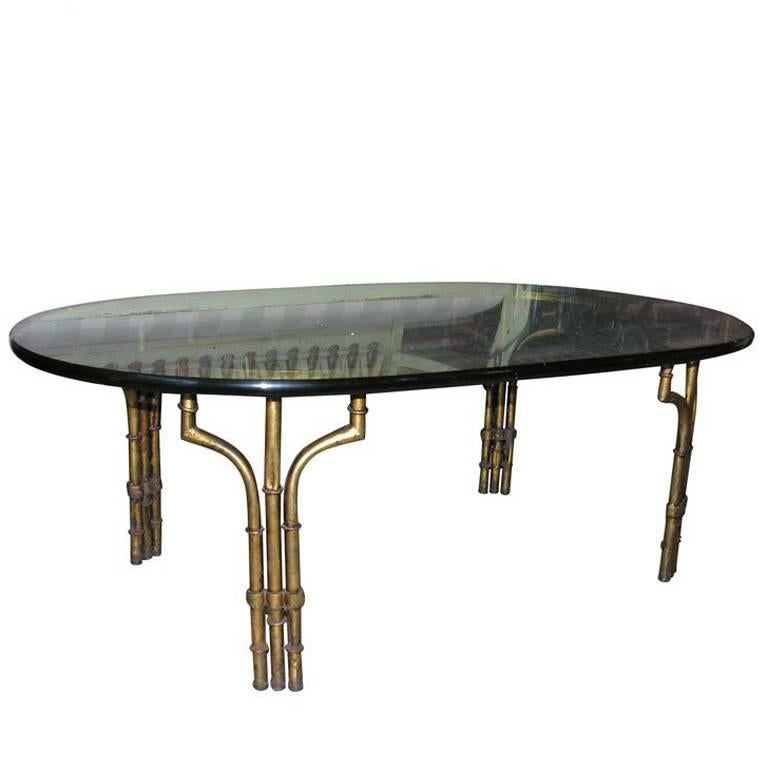 Gilt Iron and Glass Faux Bamboo Coffee Table For Sale