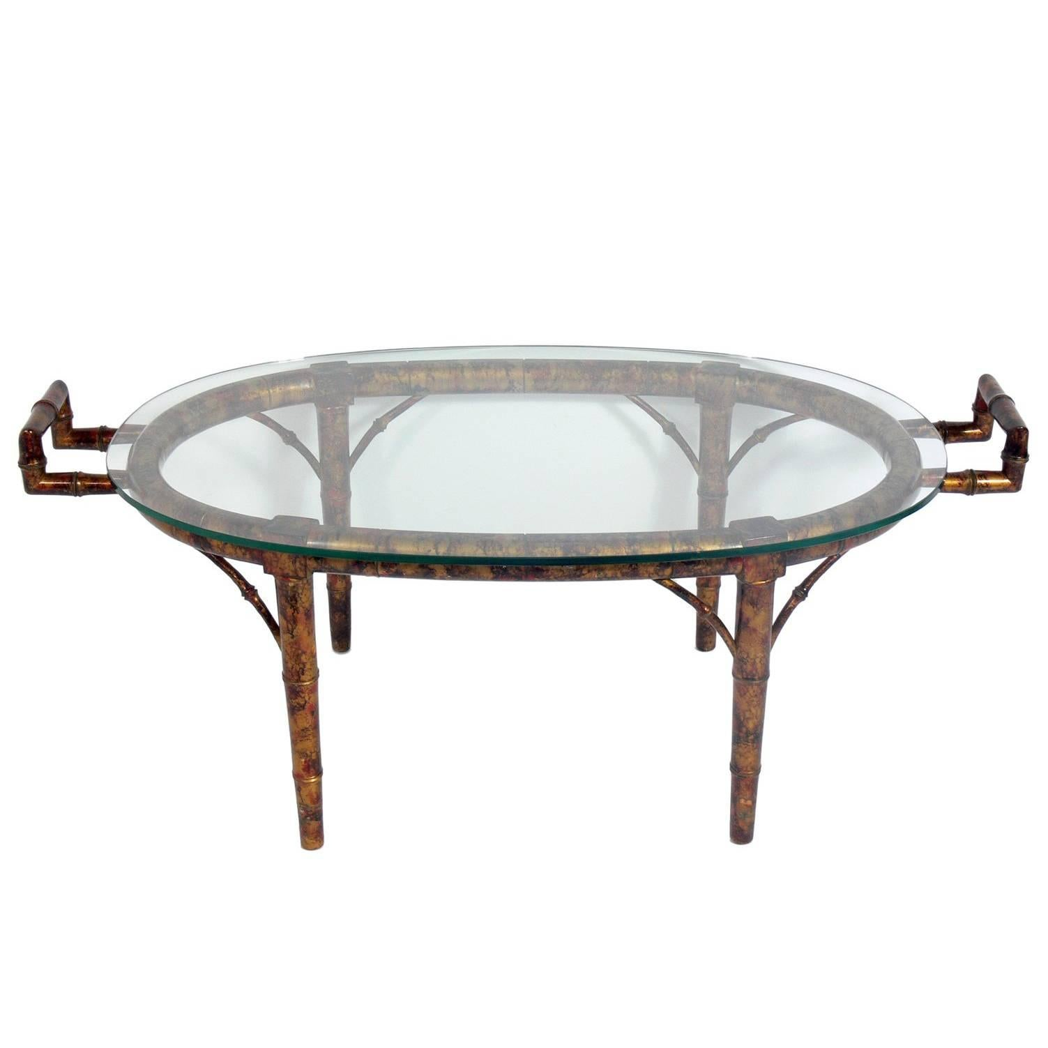 Faux Bamboo Coffee Table in the Manner of James Mont