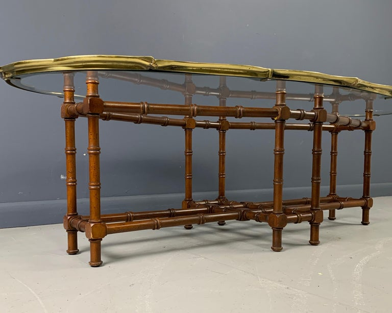 Mid-Century Modern Faux Bamboo Coffee Table with Brass and Glass Top For Sale