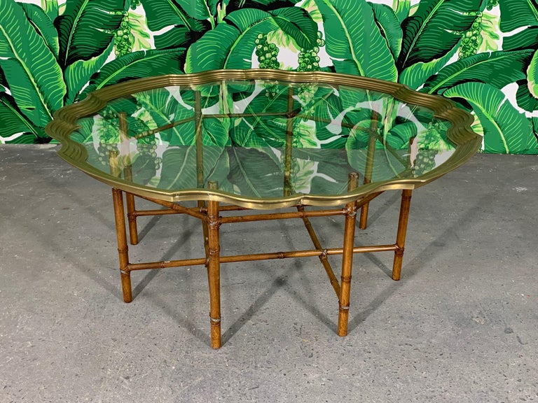 Hollywood Regency Faux Bamboo Coffee Table With Brass and Glass Top For Sale