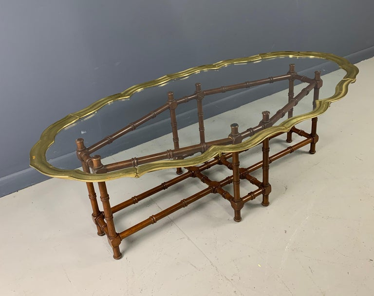 North American Faux Bamboo Coffee Table with Brass and Glass Top For Sale
