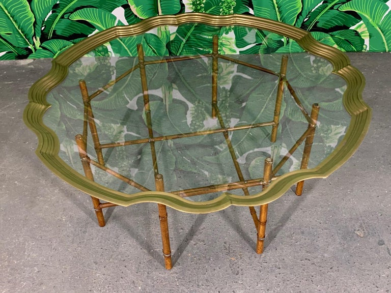 Faux Bamboo Coffee Table With Brass and Glass Top In Good Condition For Sale In Jacksonville, FL
