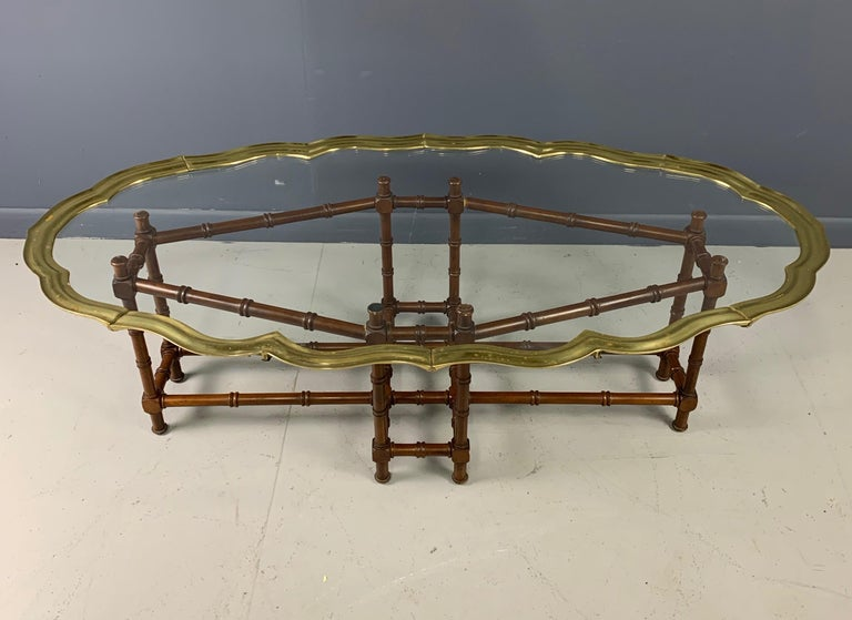 Faux Bamboo Coffee Table with Brass and Glass Top In Good Condition For Sale In Philadelphia, PA