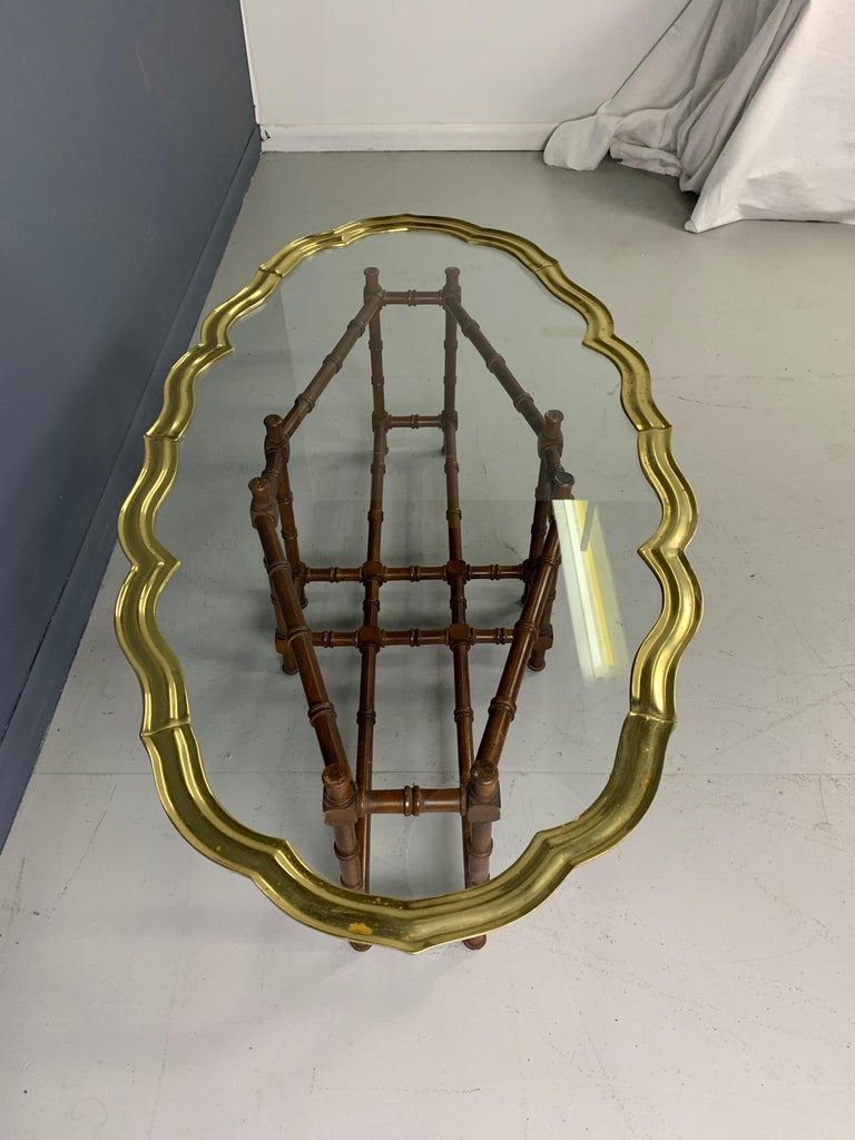 20th Century Faux Bamboo Coffee Table with Brass and Glass Top For Sale