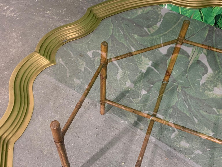 Faux Bamboo Coffee Table With Brass and Glass Top For Sale 1