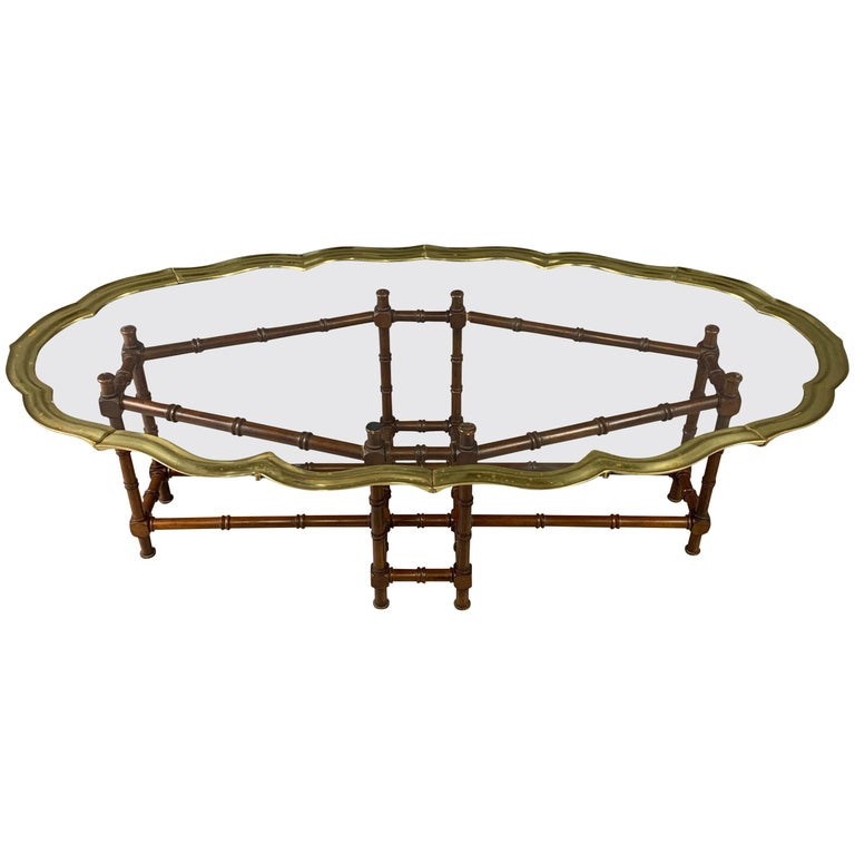 Faux Bamboo Coffee Table with Brass and Glass Top For Sale