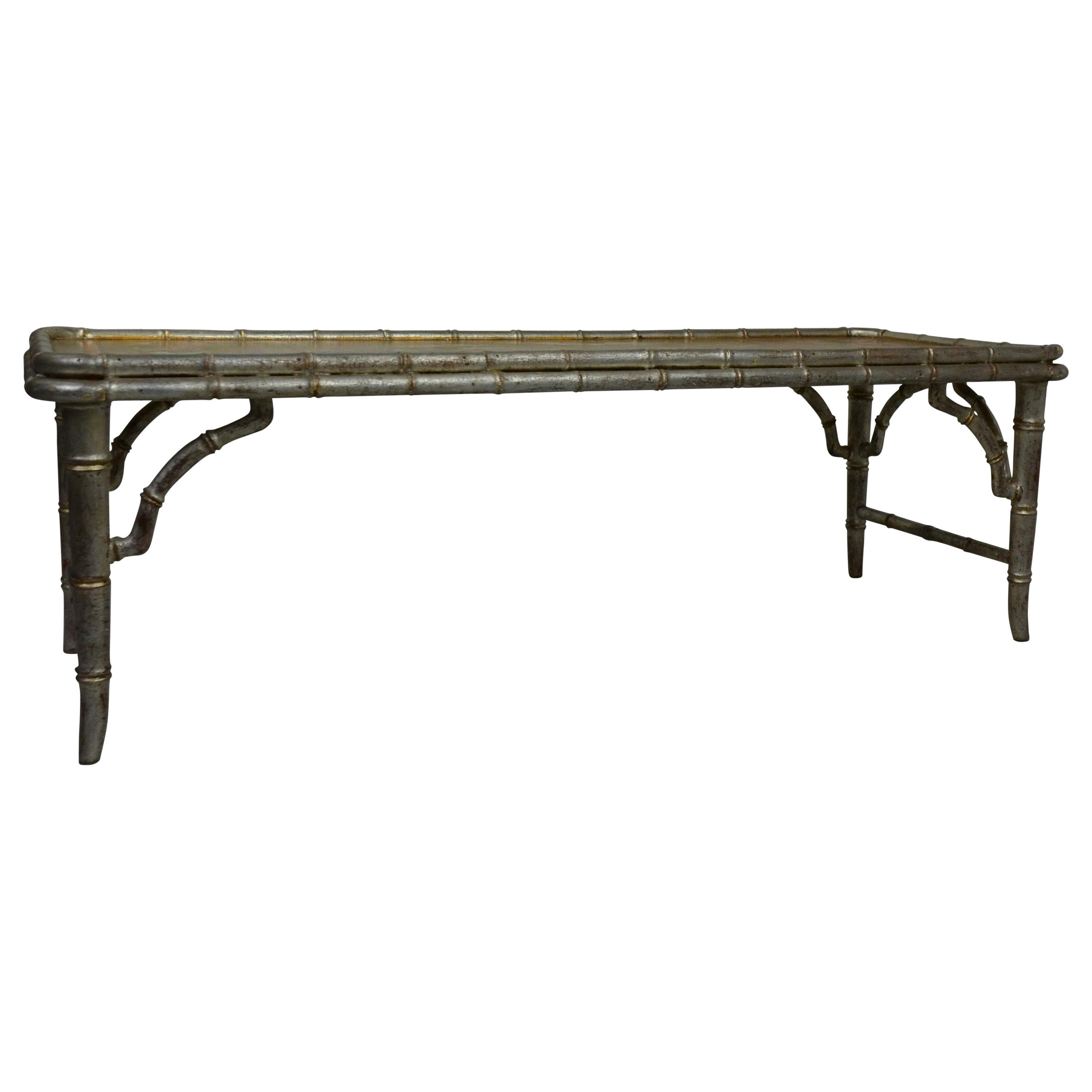 Faux Bamboo Coffee Table with Chinoiserie Top