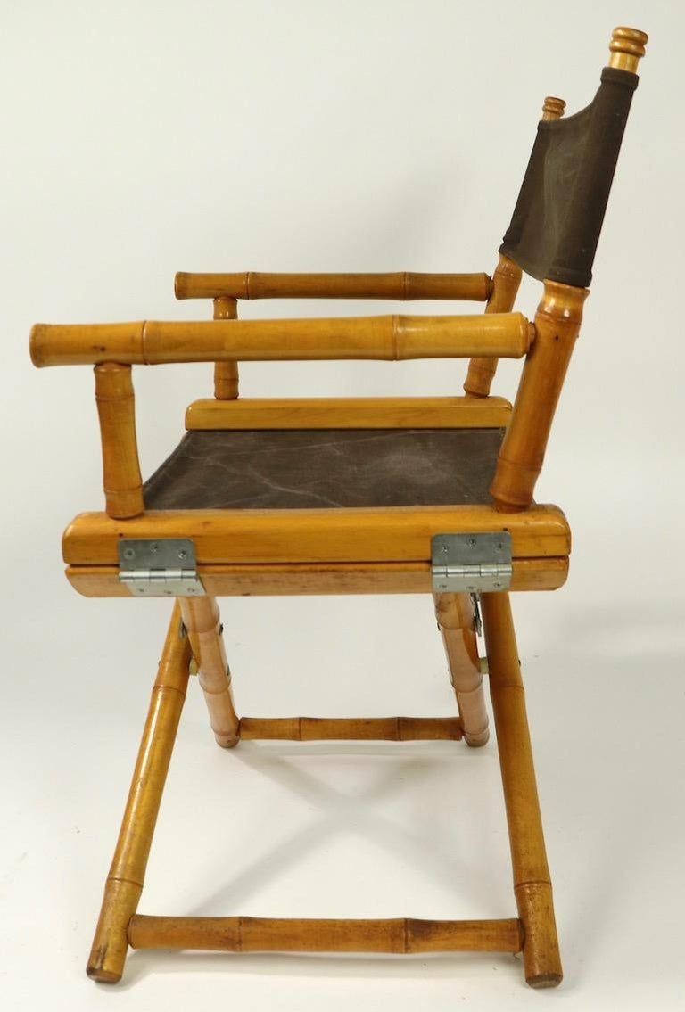 Faux Bamboo Directors Chair by Telescope Chair Company For Sale 4